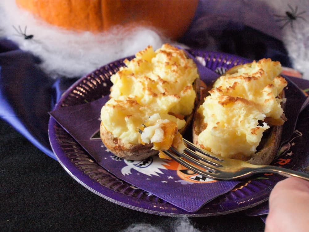 Baked Potatoes filled with Shepherd;s Pie for Halloween Supper