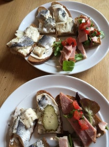 Rye bread with pickled herring