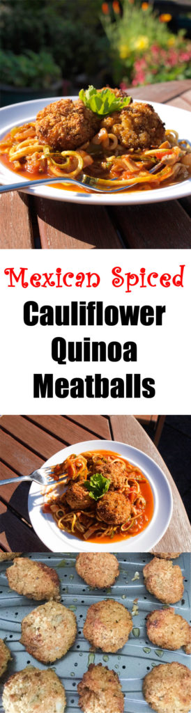 Vegan Cauliflower Quinoa Meat-free balls in a Mexican spiced sauce