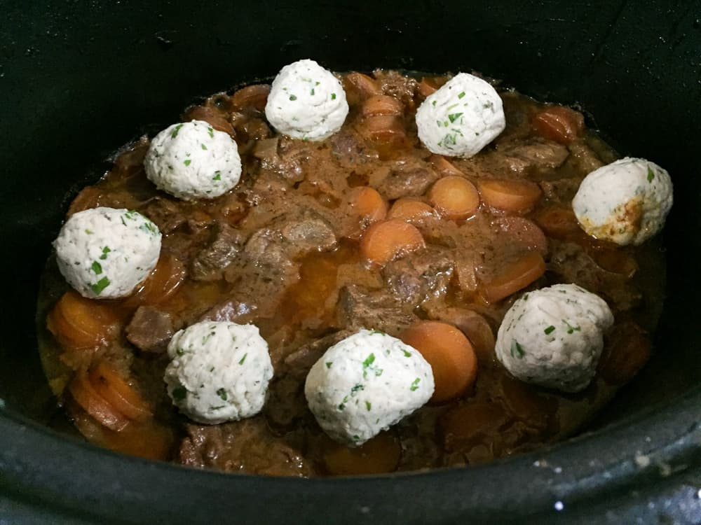 Add the Dumplings to the Best Crockpot Beef Stew with dumplings