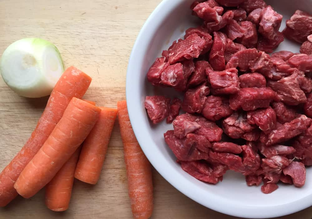 Beef, carrots and onion