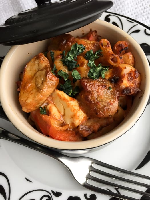 A delicious comforting bowl of Pork and Paprika Goulash Bake