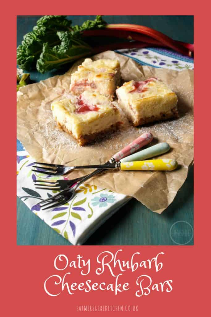 Oaty Rhubarb Cheesecake Bars - creamy cheesecake topping contrasts with sweet-sharp rhubarb and a crispy oatmeal base #cheseecake #bars #rhubarb #recipe